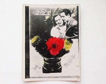 Old vintage photo postcard 3 - old USSR postcard with the poem - 1960s