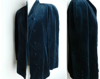 70's 80's COTTON VELVET black jacket blazer high neck collar puff sleeves u.k. 12 - 14 M