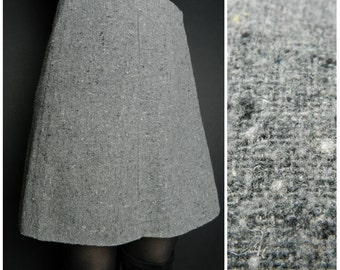 90s WOOL grey speckled high waisted mini skirt u.k. 10 - 12 sm m