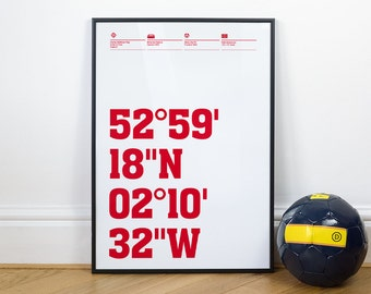 Stoke City Football Stadium Coordinates Posters