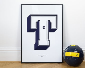 T is for Tottenham, Football Typography Print