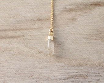 Rutilated quartz spike necklace, spike necklace, quartz, gold necklace, layering necklace