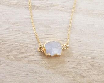 White quartz necklace, white druzy necklace, gold druzy necklace, gold fill, gold necklace, dainty druzy necklace, layering necklace, agate