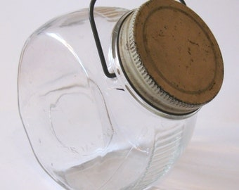 Counter Top Storage Jar, Vintage General Store, with lid and wire bail handle
