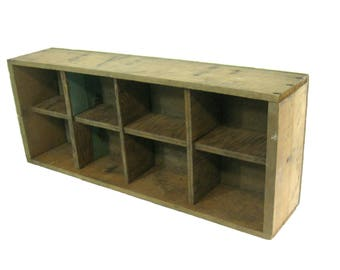 Large Wooden Vintage Divided Crate, Shadow Box