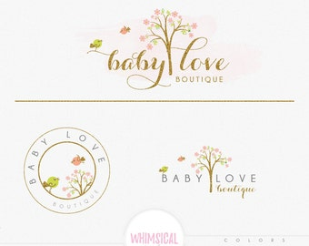 Fun Tree 4 - Premade Photography Logo and Watermark, Classic Elegant Script Font GOLD GLITTER TREE childrenCalligraphy Logo