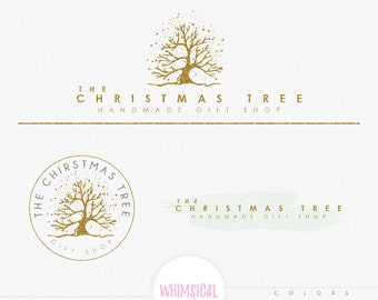 Whimsical Pine tree Logo - Premade Photography Logo and Watermark, Classic Elegant Script Font GOLD GLITTER TREE childrenCalligraphy Logo