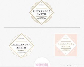 Luxury Frame Logo - Circle Frame Logo pattern floral elegant style boutique MINI branding pack , boutique branding kit, bakery store