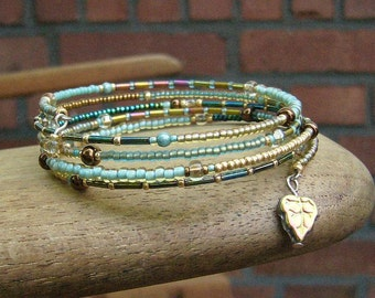 Spiral bracelet wrap bracelet memory wire turquoise, gold, petrol