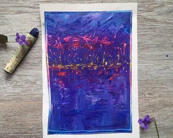 Fine art oil pastel -  original illustration - Twilight by Anne Lacour