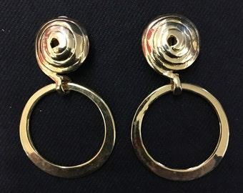 Vintage gold plated hoop clip on earrings