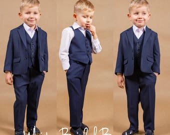 Ring bearer outfit Wedding boy suit Navy boy suit Baby boy outfit Communion suit Wedding boy outfit Toddler suit Baby boy suit Boy outfit