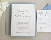 The Magnolia Suite  - Sample - Letterpress Wedding Invitation Suite,  Grey, Blue, Calligraphy, Modern, Rustic