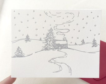 Letterpress Holiday Card - Single Card or Set of 6 - Hand Drawn Winter Cottage Snow Landscape - Ready to Ship