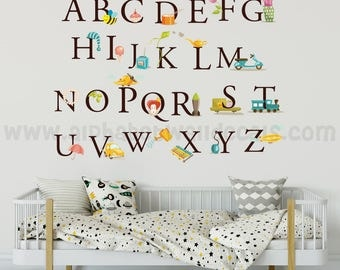Alphabet Nursery Wall Decal - Educational Wall Decal - Playroom Wall Decal- Play Room Wall Decal - Custom Decal Wall Graphics