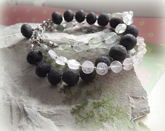Jewelry, Bracelets, Volcanic lava, Rose quartz, Aquamarine, Bracelet with three strings, Handmade, Acoya Jewellery