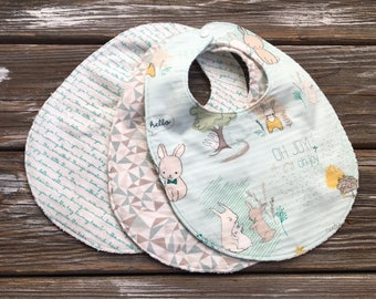 Baby/Toddler Bibs ~ You Choose 1 or all Three (3)! ~ Geo//Neutral//Bunny//Triangle//Tribal//Mint