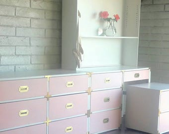 Summer Sale! Save 500.00! Vintage Mid Century Modern Pink and White Campaign Dresser, Desk and Nightstand