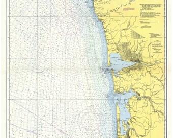 Columbia River to Destruction Island 1953 Nautical Map - Oregon Washington - Grays Harbor Willapa Bay PC Big Area 6002-02 - Reprint
