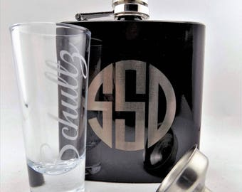 Personalized Best Man/Groomsman Kit. 3 Piece Set. Flask and a Funnel with a 1.4 OZ Shot Glass!