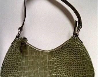 Vegan Lime Green Faux Croc Vintage Handbag Vintage Retro Patent Leather Medium Purse Silver Embellishments