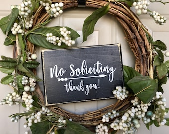 No Soliciting Sign Thank You Wood Sign Housewarming Gift Front Door Sign Porch Decor Under 15 No Soliciting Sign Black Wooden Sign