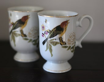 Vintage Bird Mugs, Footed Tea Cups, Mugs, Gold Rim, Set of 2, White Flowers, Kitchen Decor, Home Decor