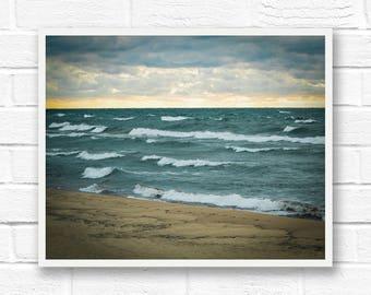 Saugatuck, Michigan, beach waves, Lake Michigan art, beach photography, Michigan poster, beach landscape, beach house decor, sunset prints