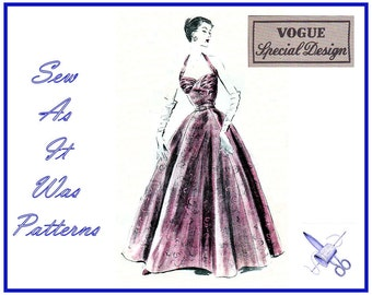 1950s Vogue Special Design S-4270 Halter Neck Ruched Bust Evening Cocktail Gown Full Flared Skirt Vintage Sewing Pattern Size 14 Bust 32