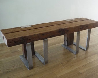 Reclaimed Wood Bench. Rustic Bench. Industrial Bench. Wood Metal Bench. Modern Bench.