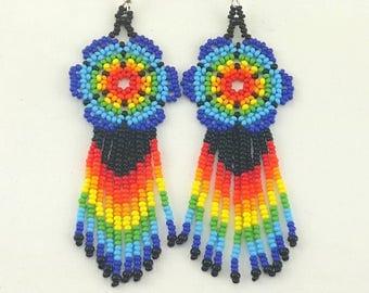 Long Rainbow Seed Bead Earrings