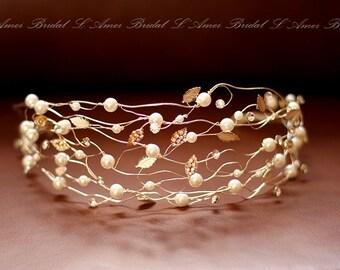 SALE-Bridal Pearl Wedding Crown Crystal and Pearl Headband - Wedding Headpiece - Bridal Headpiece for Wedding - Wedding Headdress