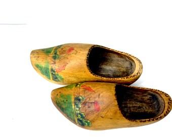 Wooden Dutch  Shoes, Vintage Wood Shoes, Holland Shoes, Handmade Wooden Shoes, Wooden Clogs, Dutch Shoes