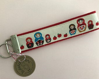 Matryoshka Nesting Dolls  Wristlet Key Fob - Red