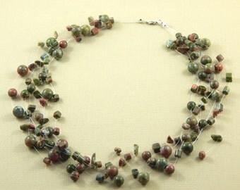 Illusion Gemstone Necklace, Floating Unakite Necklace, Unakite Necklace, Gemstone necklace, Illusion Necklace, Floating Necklace