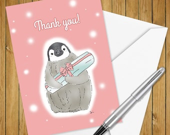 Thank you Penguin with a gift box pink card (5x7 size)