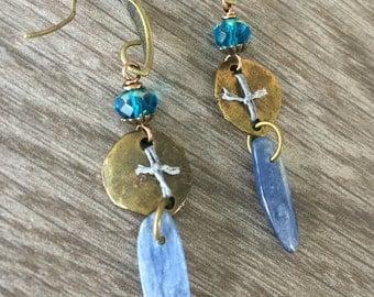 Blue Relic Kyanite Earrings