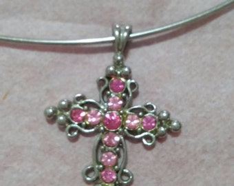 Pink rhinestone cross on wire collar