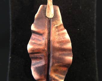 Pendant - Copper Leaf Pendant with Hammered Copper Bail - FREE SHIPPING