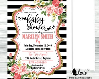 Black and White Baby Shower Invitation - Digital File or Printed