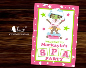 Spa Party Welcome Sign, Spa Birthday Party Welcome Sign  - Digital File
