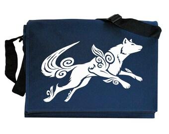 Okami Wolf Tribute Navy Blue Messenger Shoulder Bag