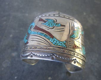 J Nessie Sterling Cuff with Chip Inlay with Turquoise and Coral