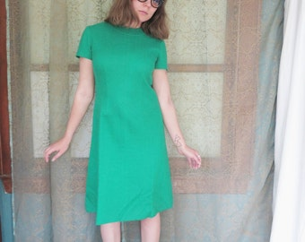 1960s Emerald Green Wool Dress Alison Ayres 60s Green Dress 60s Shift Dress Vintage Midi Dress Holiday Party St Patrick's Day Chevron Detail