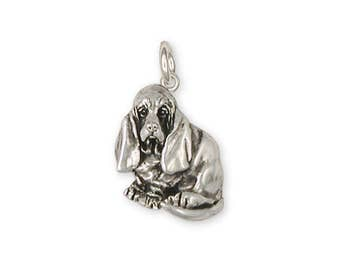 Basset Hound Charm Jewelry Sterling Silver Handmade Dog Charm BAS5-C