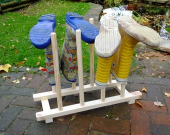 Wellington boot rack or stand in flat pack form for four wellies to go in hallway or porch.