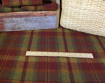 Huntsman, a Red, Rust, Gold and Green Plaid, Mill Dyed Wool Fabric for Rug Hooking, Applique, Penny Rugs, Fiber Arts, Fat Quarter Yard W281