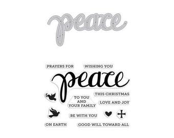 "Hero Arts Stamp & Cut PEACE clear 3""x4"" Stamp with metal Die set - DC187 1.cc02"