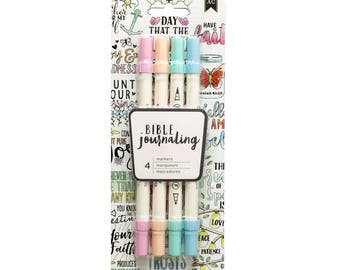 Bible Journaling Dual Brush Markers SOFT PASTELS 4pk - pink peach green blue 378642 1.cc10