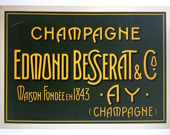 Original Vintage Poster CHAMPAGNE EDMOND BASSERAT & Co 1920s